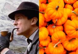 Zucche di halloween e pipa di Sherlock Holmes
