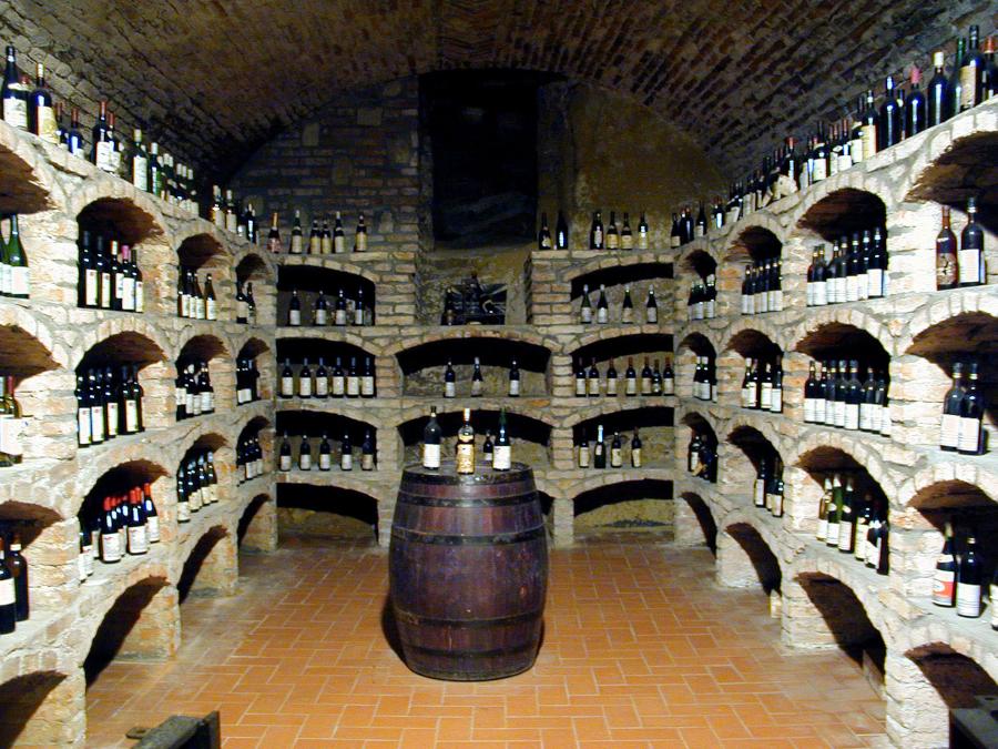 immagine di una cantina piena di bottiglie