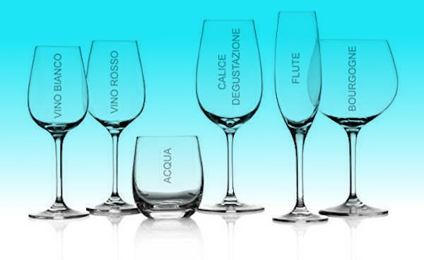 Immagine dei bicchieri da acqua, da vino e da degustazione
